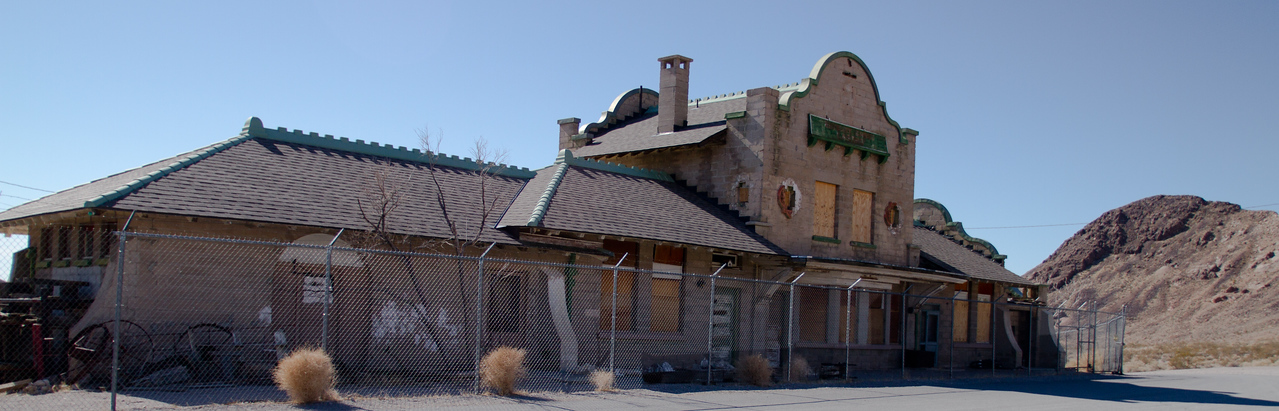 Ghost town of Rhyolite, Nevada<br /> train station  there were three railroads in town