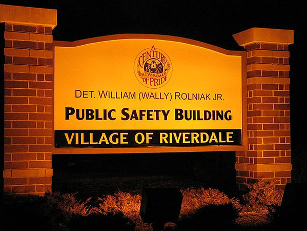 Riverdale (IL) Fire/Police Dept.<br /> Riverdale's third structure for such, built on the grounds of the old Halsted Outdoor Theater. Dedicated to detective Wally Rolniak, who was killed in the line of duty.