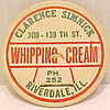 CLARENCE SIMNICK DAIRY  - Riverdale, IL - early 1900s<br /> Picture from eBay sale.  This was the top to a package of cream.