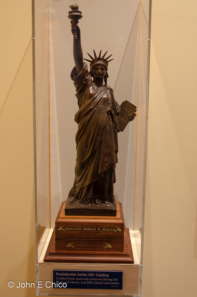 The fine print says this statue was made from scraps of the real statue when it was cleaned up some years back, then presented to President Reagan.  That's pretty cool.