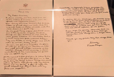 The very sad letter Mr Reagan wrote and then released to the public announcing the acknowledgement of his Alzheimer's disease.