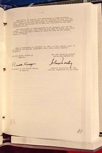 This is the actual (not a copy) original INF treaty signed by both Reagan and Gorbachev.