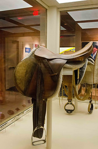 This was Mr Reagan's riding saddle for many years including during the presidency. It was kept and used at the ranch in Santa Barbara.