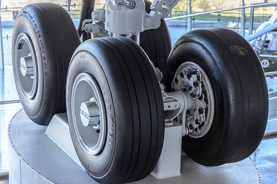 Up close and personal with the landing gear. Love those Boeing hubs. Looks like somebody flat spotted one of the tires. :-)