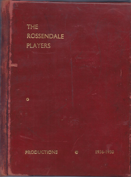 "ROSSENDALE PLAYERS   PRODUCTIONS 1936-1950<br />    This is the first scrapbook listing the earliest productions.<br /> Unfortunately either there were no printed programmes (which seems unlikely)or most of them have been lost.  This book contains the full cast lists of each play up to the 50th in 1950  handwritten by whoever organised the book.<br />  We do have a few early programmes (including the first - ""The Circle"") up to the 48th (""The Light of Heart"") but there are still gaps in later years.  Eventually I will try to show all the programmes we have up to the present day.  Any donations (or loans) of photos or programmes of ANY Players productions, or Press cuttings will be very welcome to help complete the archive."