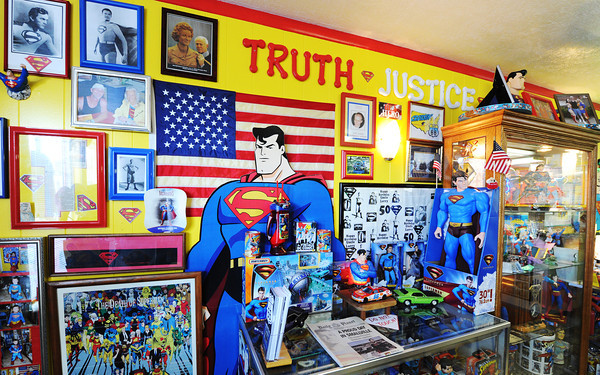 Globe/T. Rob Brown<br /> SuperTam on 66 features a Superman museum, Tuesday evening, July 23, 2013, in Carterville.
