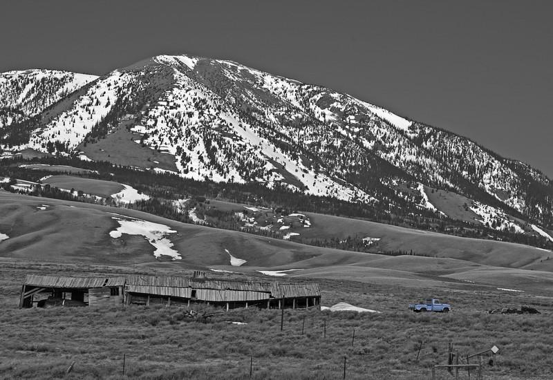 Blue Chevy under Elk Mountain_