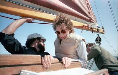 Randy heads below deck (SF Bay, 1983)