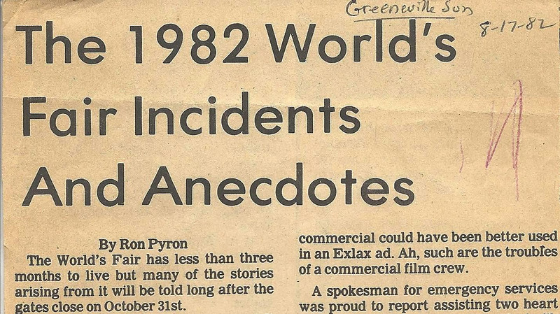 1. I wrote this for the Greeneville Sun on August 17, 1982. I was working as an NPS park ranger at Andrew Johnson N.H.S. and got a temporary assignment to work a few days at the Knoxville Fair.