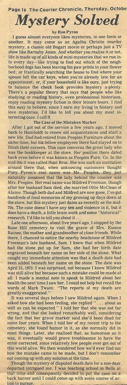1981:  Humboldt Mystery Solved