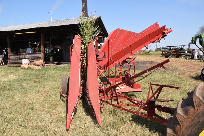 Corn harvester.