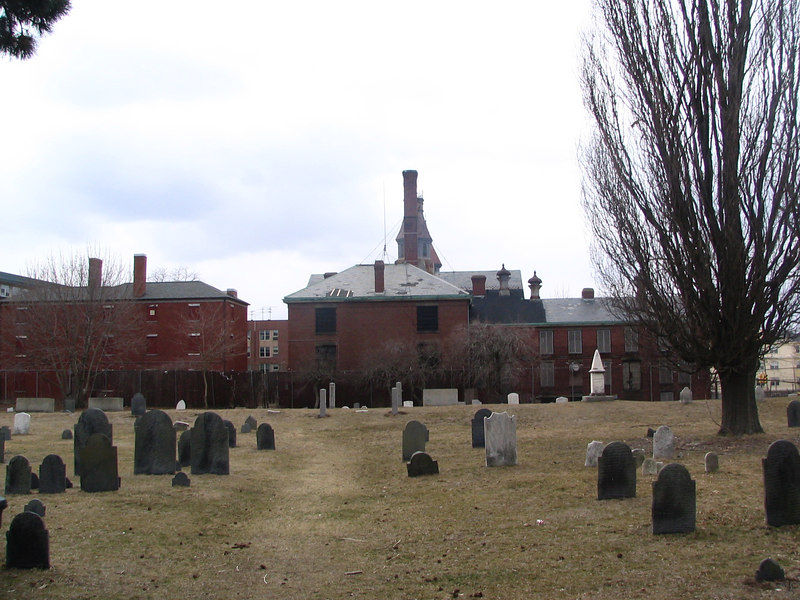 east wing as seen from Howard Cemetary. the jailor's house is on the left and the main prison structure is right in the middle.