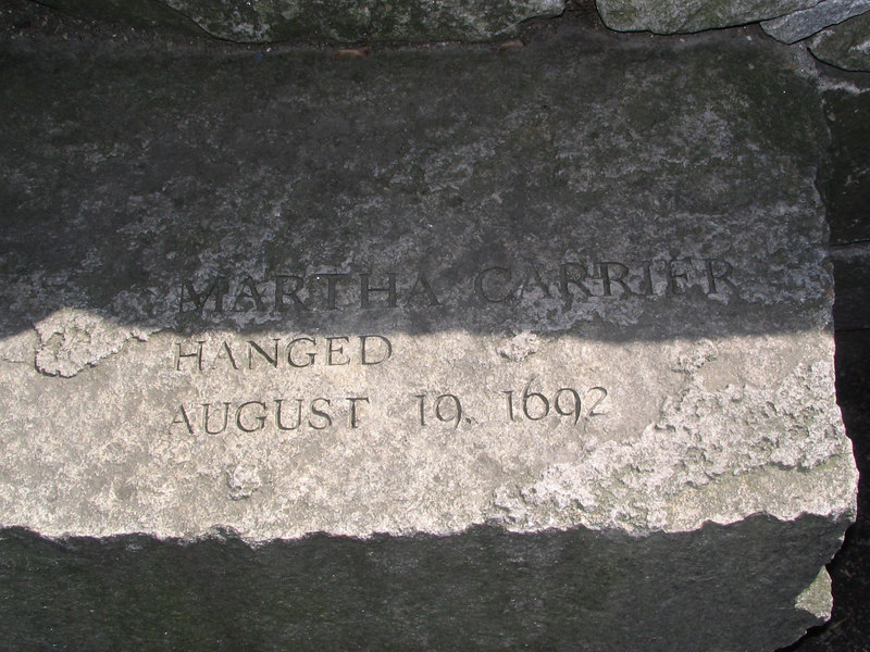 Martha Carrier, Andover, hanged, August 19, 1692