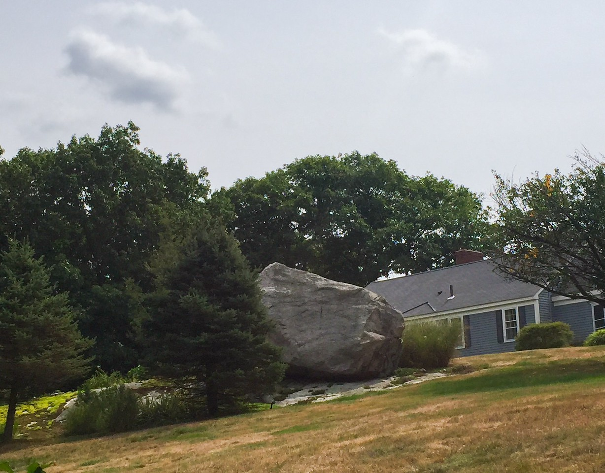 The boulder that marked the Danforth homestead on Salem End Rd. Thomas Danforth was a former Deputy Governor of Massachusetts Bay Colony and he acquired the land that now straddles the Framingham-Ashland line. He was also on the tribunal early in the Salem Witch Trials but did not buy in to the Hysteria. He believed many of the accused were innocent and generously allowed them to take refuge on his plantation. The land he gave them became Salem End Road.