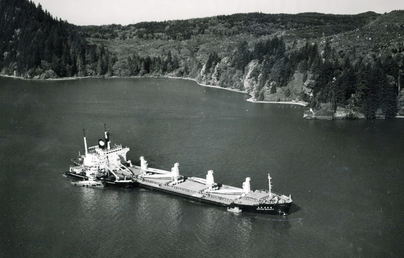 1982 Nov,Three Tree Point Columbia River,MV Ocean Beauty Grounded with Haul Damage,Salvage Chief Refloated Towed To Portland,