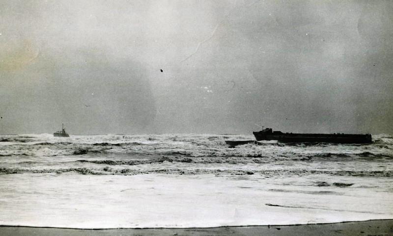 Ammunition Barge Otsega Aground Washington Coast,Left Salvage Chief Pulled Free and Delivered,