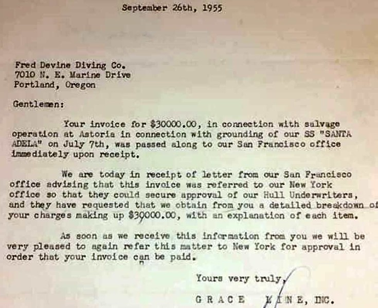 1955 Salvage Chief Grace Line Letter S S Santa Adela Salvage Operations