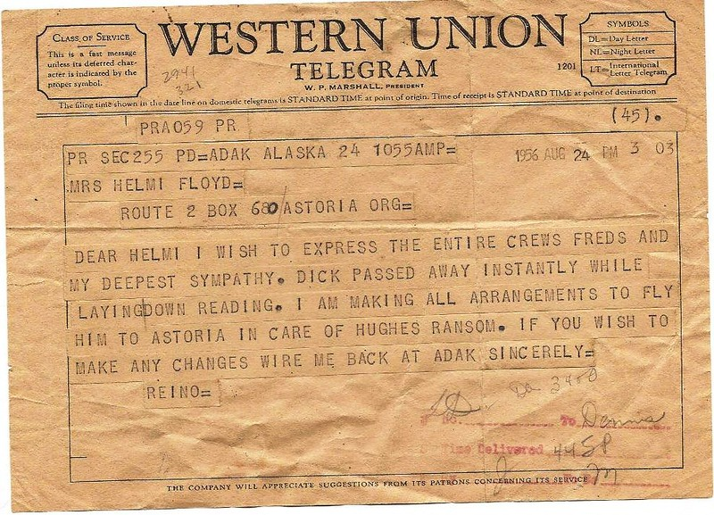 1956  Aug 24    Telegram Death Notice  Richard Dick Floyd  Aboard Salvage Chief  Adak Alaska