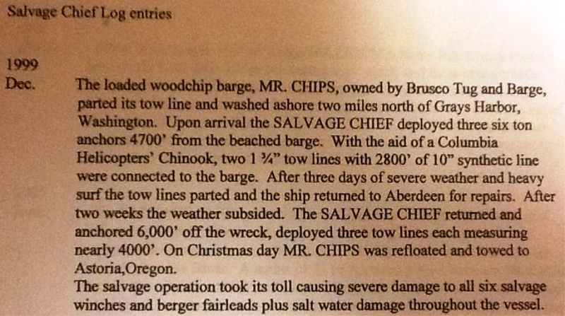 Dec 1999 Mr Chips Barge  Grounded  Salvage Chief  Grays Harbor