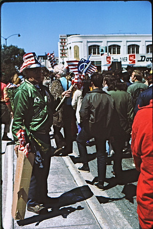 3*Sat, Apr 24, 1971<br /> People: flag seller<br /> Subject: <br /> Place: San Francisco<br /> Activity: <br /> Comments: Doggie Diner in background