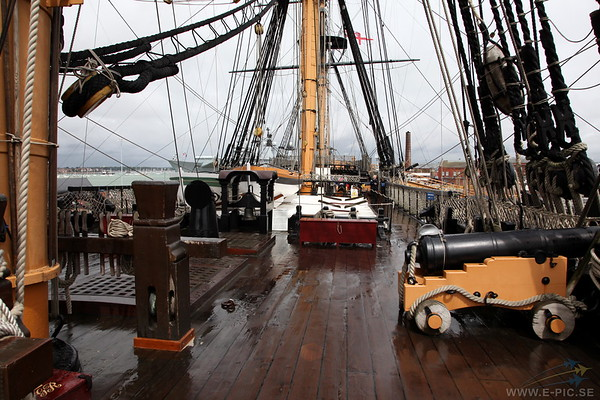Forcastle on the upper deck looking aft from the bow. Only part where the men were allowed to smoke.