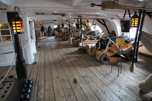 Middle gun deck close to the bow looking forward