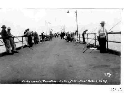 Fisher on Seal Beach Pier abt 1950