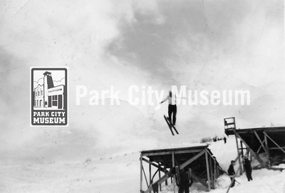 Local skiing pioneer John Spendlove mid-air at Ecker Hill, ca.1930s (Image: 2011-43-12A, John D. Spendlove Collection)