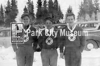 Mel Fletcher, Shog Bailey, and Don Young pose at the Utah Centennial ski carnival, 1947-1948 (Image: digi-7-58, Mel Fletcher Collection)
