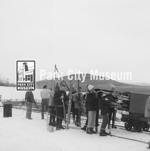 """Boarding the """"Skier Subway,"""" ca.1965-1969 (Image: 1999-4-159, Park City Mountain Resort Collection)"""