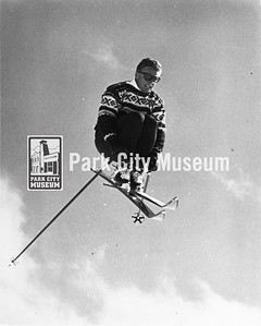 Legendary skier Stein Eriksen mid-jump, ca.1970s (Image: 2004-84-1-1-5, Park City Mountain Resort Collection)