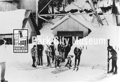 """Skiers emerge from the """"Skier Subway"""" at Park City Ski Area, ca.1965-1969 (Image: 1999-4-68, Park City Mountain Resort Collection)"""