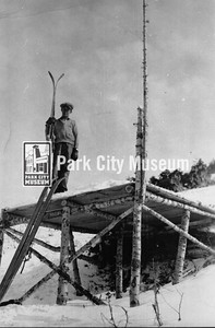 John Spendlove stands on the ski jump platform at Creole Hill, ca.1937 (Image: 1986-2-13, John Spendlove Collection)