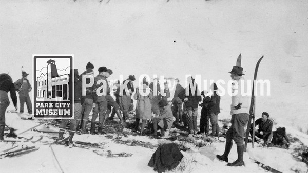 While out on their skiing, sledding, and hiking adventure, the adventurous group of Parkites stopped for lunch on the Silver King Consolidated Mine hill, ca.1922 (Image: digi-5-18, Emmett Wright Collection)