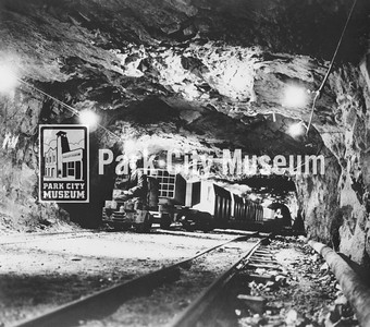 """Old mine train in action, that later served as the """"Skier Subway,"""" ca.1960s (Image: digi-3-63, Jordanelle Special Service District Digital Collection)"""