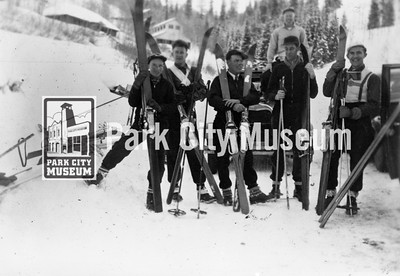 Park City boys who competed in the Daniels Canyon meet and race hosted by the BYU Snow Carnival, ca.1930s (Image: 1986-2-3, John Spendlove Collection)