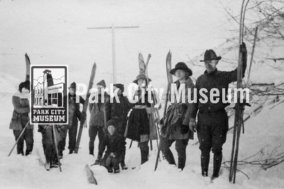 In January 1922, an adventurous group of Parkites skiing, sledding, and hiking in the hills above the city. They stopped near the Ontario Mine to pose for this picture and wait out some wind. (Image: digi-5-13, Emmett Wright Collection)