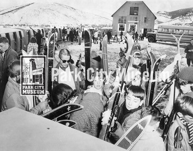 """Boarding the """"Skier Subway,"""" ca.1965-1969 (Image: 1999-4-115, Park City Mountain Resort Collection)"""