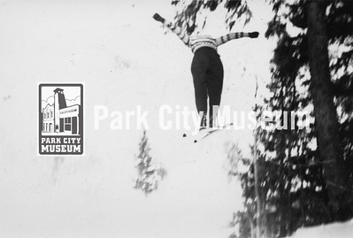 Local skiing pioneer John Spendlove mid-jump, ca.1930s (Image: 2011-43-11, John D. Spendlove Collection)