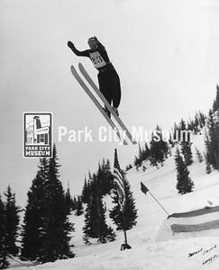 Sverre Engen ski jumping, ca.1930s (Image: digi-7-74, Mel Fletcher Digital Collection)