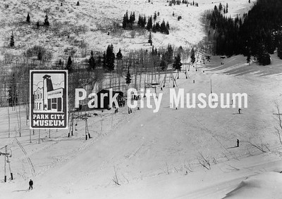 No.1 lift or the Ottobahn express at Snow Park, Park City's first ski resort located at the site of the present Lower Deer Valley and Snow Park Lodge.  ca. 1949 (Image: 1984.26.6, Otto Carpenter Collection)
