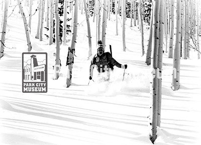 Utah is famous for its powder skiing, like this near Jupiter Bowl, ca.1970s-1980s (Image: 1999-4-128, Park City Mountain Resort Collection)