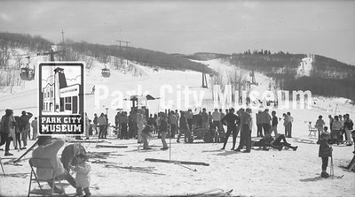 A busy day at Treasure Mountain Resort (now Park City), ca.1960s (Image: 2000-17-317, Kendall Webb Collection)