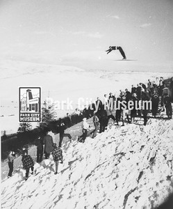 Ski jumper at Ecker Hill, ca.1920s (Image: 1986-12-3, Mansel Smith Collection)