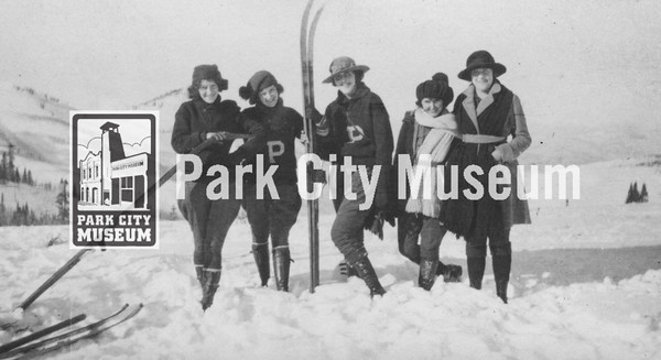 """Some """"Snow-birds"""" with their skis, ca.1922 (Image: Digi-5-133, Emmett Wright Digital Collection)"""