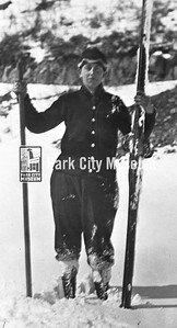 Parkite Fraser Buck poses with his skis, ca.1940s (Image: digi-2-10022, Himes-Buck Digital Collection)