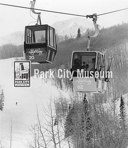 Gondolas at the Park City Ski Area (now Park City Mountain Resort), ca.1986 (Image: 1994-10-66, Park Record Collection)