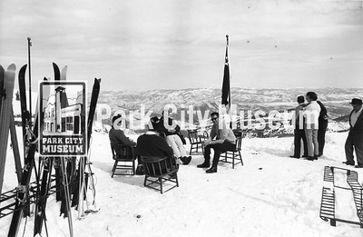 Skiers take a break at a spot overlooking the valley, ca.1980s (Image: 2004-2-4, Park City Historical Society Photograph Collection)