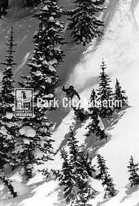 Skier in chutes at Park City Mountain Resort. ca. 1980 (Image: 1999.4.121, PCMR Resort Collection)