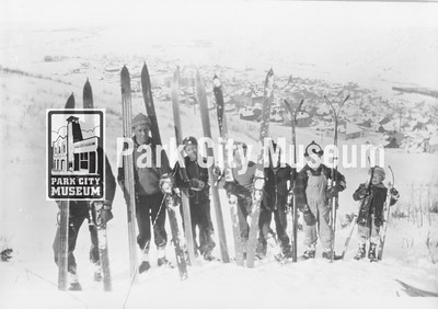 "Lincoln School Ski Club boys stand on Creole Hill (l-r: Barry Thielke, John Spendlove, Craig Rasmussen, Cornell Diamond, Don Young, Bill ""Shog"" Bailey, Lowell Diamond), ca.1936 (Image: 1986-2-7, John Spendlove Collection)"